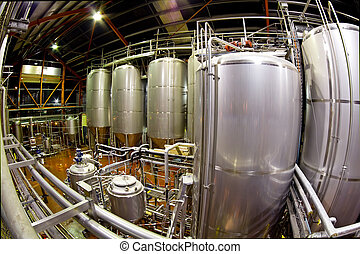 Fisheye view of a Brewery - View of the machinery and vats ...