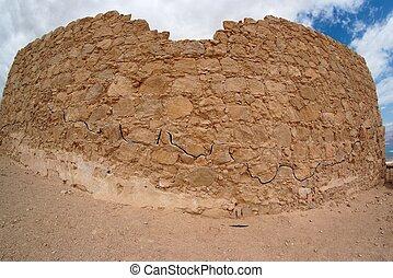 Fisheye view of ancient fortress ruin in the desert near the Dead Sea