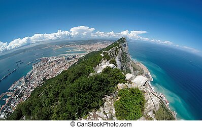 Fisheye view of Gibraltar rock, bay and town from the Upper Rock