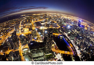 Fisheye view of Melbourne CBD , Australia - Fisheye view of...