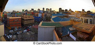 fisheye view of Nairobi, Kenya, from rooftop