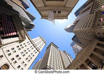 Fisheye view of Wall Street buildings - New York City, USA