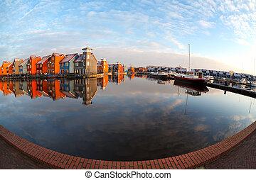 fisheye view on Reitdiephaven in Groningen after sunrise