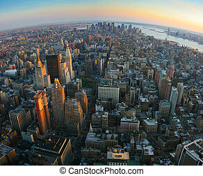 fisheye, vista, encima, manhattan más, nueva york