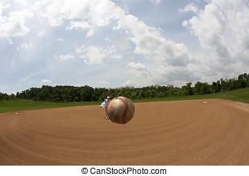 fisheye, vue, de, a, base-ball, apparently, planer, dans, mi...