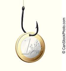 Fishhook business concept - money symbol as trap