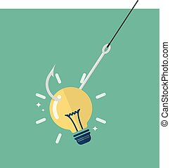 Fishhook with idea lightbulb