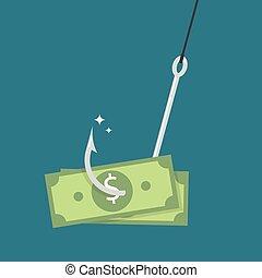 Fishhook with money