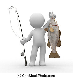 Fishing - 3d human with a fish and a fishing rod