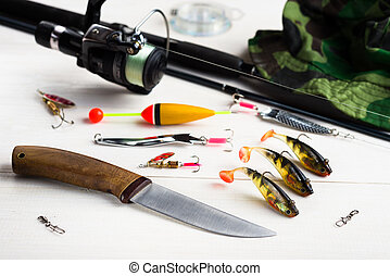 Fishing accessories on the table