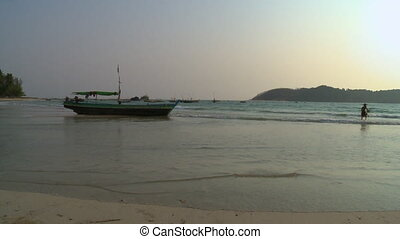 Fishing activities at Ngapali beach, Myanmar - Wide low-...