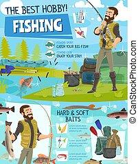 Fishing adventure, fisher fish catch equipment