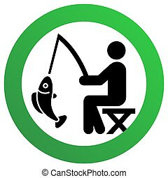Fishing allowed sign, modern round sticker, vector illustration