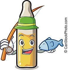 Fishing ampoule mascot cartoon style vector illustration