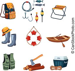 Fishing and Camping Equipment in Flat Design, Vector Illustration Set