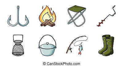 Fishing and rest icons in set collection for design. Tackle...