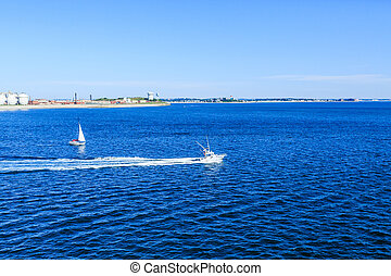 Fishing and Sail Boats Leaving Boston Harbor