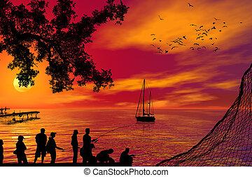 Fishing at sunset.
