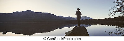 Fishing at the middle of a lake