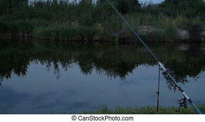 Fishing at the pond at night - Fishing pole at night. Lonely...
