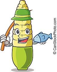 Fishing baby corn cartoon in the fridge