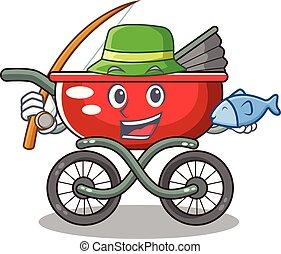 Fishing baby sitting in a baby stroller cartoon