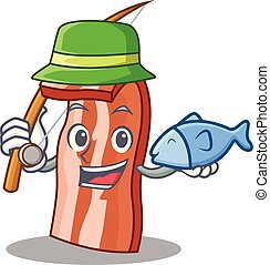 Fishing bacon mascot cartoon style vector illustration