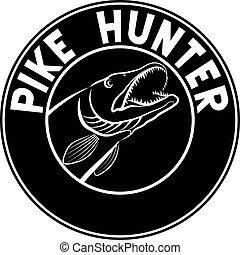 pike - fishing badge with pike