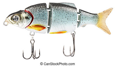 Colour fishing bait with two hooks isolated on the white