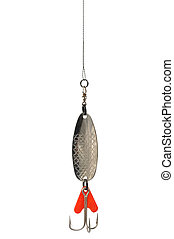 Macro of fishing lure isolated on white background