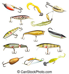 Fishing Baits Collection - different fishing baits isolated ...