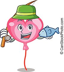 Fishing ballon heart mascot cartoon