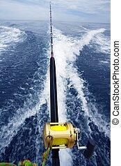 fishing big game rod and reel on boat wake