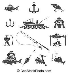 Fishing black icons vector set