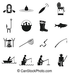 Fishing black simple icons set