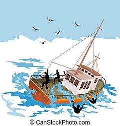Fishing boat about to capsize - Illustration on marine...