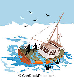 Fishing boat about to capsize - Illustration on marine...