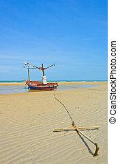 Fishing boat anchored