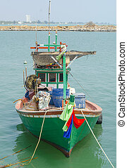 Fishing Boat and the blue ocean in Thailand.