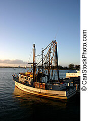 Fishing Boat At Dock. - Fishing and prawn trawler at dock in...