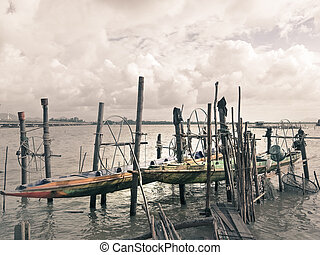 Fishing boat at the lake