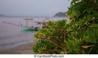 fishing boat at the sea in blur. dawn