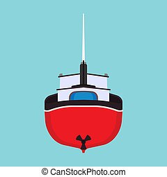 Fishing boat back view vector icon. Sea ship water marine vessel transport isolated. Sail flat commercial cartoon offshore tanker