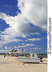 Fishing boat, Baltic Sea - Fishing boat on the beach of the ...