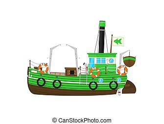 Fishing boat. Cartoon retro fishing boat on the white background. Side view. Flat vector.