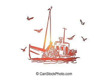 Fishing, boat, commercial, ship, marine concept. Hand drawn isolated vector.