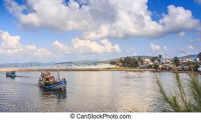 Fishing Boat Drifts to Shore in Bay Resort City Hills Sky