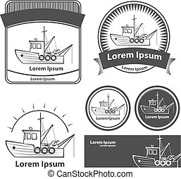 fishing boat elements logo