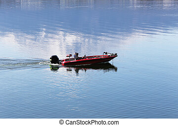fishing boat. - fishing boat in lake, Japan.