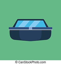 Fishing boat front view vector icon transportation. Cargo coast symbol industrial maritime sailing vessel river
